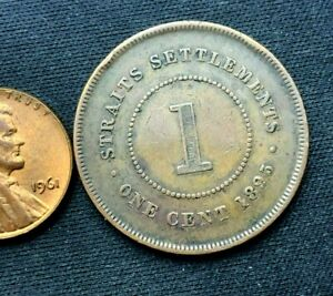 1895 Malaysia Straights Settlements 1 Cent Coin XF +   Bronze World Coin   #C081