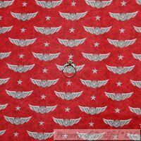 BonEful FABRIC FQ Cotton Quilt Red Flying Wings Airplane American Star Stripe US