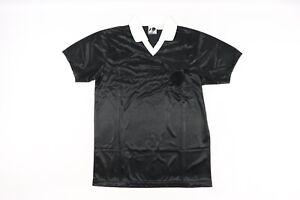 NOS Vintage 90s Mens Small Short Sleeve Ref Referee Uniform Soccer Jersey Black