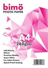 100 Sheets of A4 Glossy Photo Paper 260gsm for Inkjet Printers Premium Quality