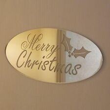 Mirror Merry Christmas Door Name Plaque Sign Present Welcome Family and Friends