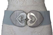 Women Unique Belt Gray Stretch Band High Waist Silver Heart Metal Buckle S M