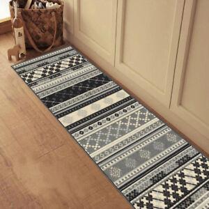 Custom Size Stair Hallway Runner Rug Rubber Back Non Skid Grey Kilim Design