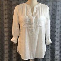 Ann Taylor Women's Blouse Size Small White Pullover Shirt 100% Cotton