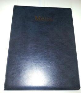 QTY 20 A4 MENU COVER/FOLDER IN GREY/BLACK LEATHER LOOK PVC