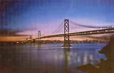 postcard USA California  Bay Bridge at night San Fransisco  unposted