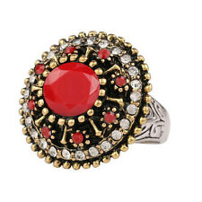 Vintage Style Antique Gold Wine Red Rhinestone Medium size O 17 mm Ring FR268