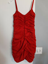 H&M Red Orange Strappy Fitted Ruched Short Party Dress; Women's Small