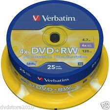 25 DVD+RW VERBATIM 4X 4.7GB DVD +RW REWRITABLE Rescrivibili Matt Silver 43489