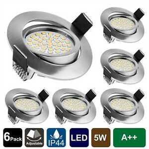 6 x LED Einbauleuchten Bad Strahler Spots ultraflach Lampe Deckenspots Dimmbar