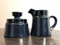 Vintage Noritake Primastone Stoneware Cobalt / Navy Blue Sugar Bowl & Creamer