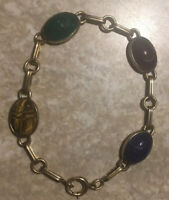 "Vintage 14 K gold filled over sterling Scarab Bracelet 7 1/2"" Symmetalic"