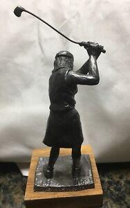 Vintage 1985 Michael Ricker Pewter Lady Golfer Figure
