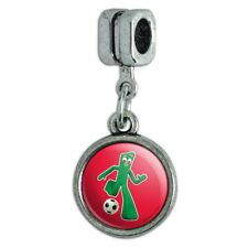 Sporty Gumby Soccer Ball Player Clay Art Italian European Style Bracelet Charm