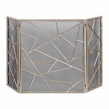 """NEW STATELY 51"""" MODERN ANTIQUED SILVER IRON / METAL DECORATIVE FIREPLACE SCREEN"""