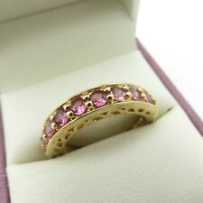 925 Sterling Silver Ladies Ring Size R S Gilded Chunky Pink Eternity Gemporia