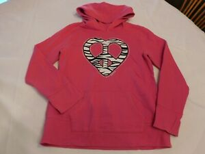 Justice Girl's Youth Long Sleeve Hoodie Sweat Shirt Size 14 Fuchsia Pink GUC