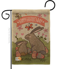 New listing Happy Easter's Day with Colourful Bunny Eggs Burlap-Garden Flag G192020-Db