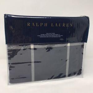 Ralph Lauren Modern Equestrian Windowpane KING Duvet Cover Navy/Cream
