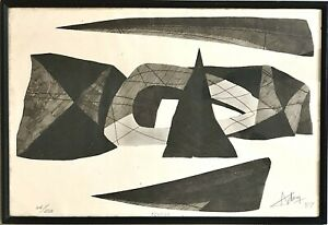 "Original Signed HENRI-GEORGES ADAM Engraving 1959 ""ÉCUEILS"" Abstract Landscape"