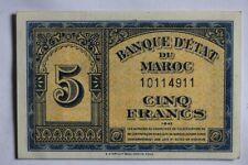 Billet 5 Francs 1943 Banque d'État du Maroc (40039)