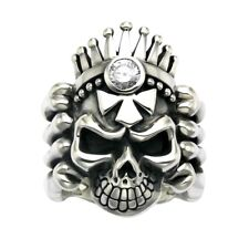 Sterling Silver Skull Ring With Faceted Crystal -R647
