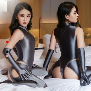 Women Shiny Satin Catsuit Zipper Bodysuit 4-Open Leggings Gloves Jumpsuit SET