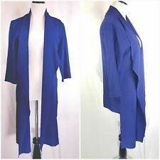 CHICO'S Traveler Collection Women's Small Open Front Blouse Blue Waterfall NWT