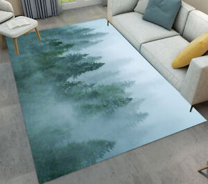 Foggy Green Forest Living Room Floor Carpet Home Decor Area Rugs Crawling Mat