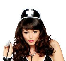 Black Nurse Hat with Cross Ruffle Trim Headband Head Piece Costume Roma H113