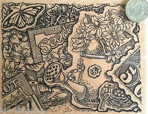 Gorgeous GARDENING WATERING CAN, SEEDS, BUTTERFLY, PLANTS Wooden Rubber Stamp