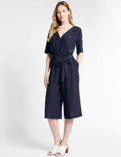 M/&S Collection Navy Culotte Casual Evening Office Cropped Belted Jumpsuit £39