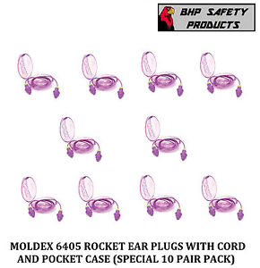 MOLDEX ROCKETS 6405 REUSABLE  EAR PLUGS CORDED WITH CARRY CASE (10 PAIR PACK)