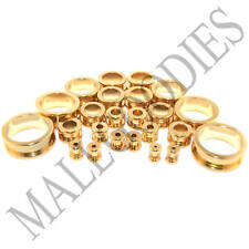 V012 Surgical Steel Gold Screw-on/fit Flesh Tunnels Earlets Ear Plugs 10G to 2""