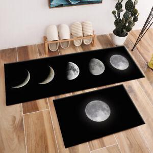 Black Background Moon Design Area Rugs Bedroom Kitchen Living Room Floor Mat Rug