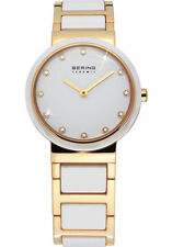 Bering Womens 10729-751 Ceramic White Dial Gold Stainless Steel Band SS Watch