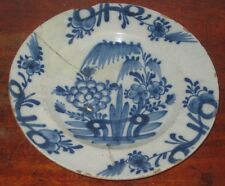 ANTIQUE 18th century DELFT PLATE ORIENTAL INSPIRED DECORATION AF repaired
