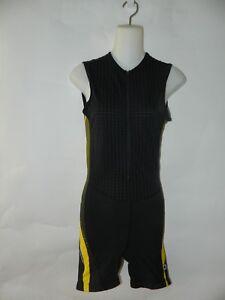 Louis Garneau Cycling One Piece Unitard Black Front Zipper Back Pouch Small