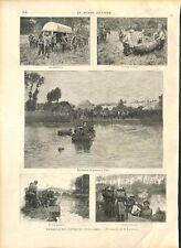 Manoeuvres Militaire Expérience Passage Bac sur le Loir / Singe GRAVURE 1896