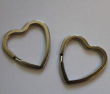 (2)  2 Stück Schlüsselringe Herz Herzen silberfarben  ø ca.32 mm Schlüssel Ring