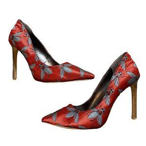 Nine West Red Gray Tatiana Bee Jacquard Pointed Toe Pump Stiletto Size 6.5