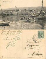 Cartolina di Santa Margherita Ligure, barche in porto e panorama - Genova, 1916