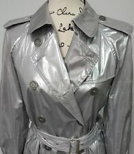 Authentic Burberry lightweight Fashion Silver Trench Trenchcoat 6 RARE