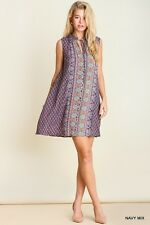 UMGEE Small Boho Print Flowy A-Line Tunic Dress Casual Summer Beach Mini Hippie