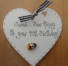 Personalised 40th 50th 21st 18th any birthday wooden heart keepsake gift present