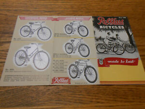 """1950 (?) ROLLFAST BICYCLES ORIGINAL FOLDOUT BROCHURE / CATALOG """"MADE TO LAST"""""""