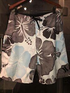 Men's Hurley Gray/White/Light Blue Floral Print Swim Trunks size 34