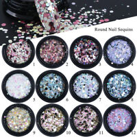 3D Round Hexagon Mixed Sequins Nails Flake Holographic Nail Glitter Powder
