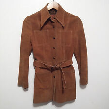 vintage women's Suede Leather Coat Belted Jacket Ambe 70s Boho sz 7