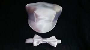 Baby Boy Christening/Baptism /Wedding Cap/Hat Necktie Bowtie set Size 0-24 M
